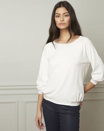Amarante white sporty style pullover with lurex details ecru.