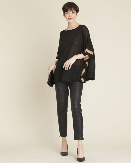 Bettina black wool mix poncho (1) - 1-2-3