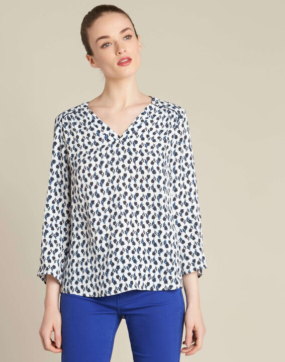 Gervaise navy blue blouse with floral print (3) - 1-2-3
