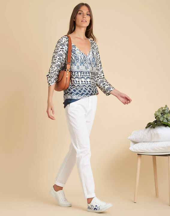 Douna navy blue blouse with floral print (2) - 1-2-3