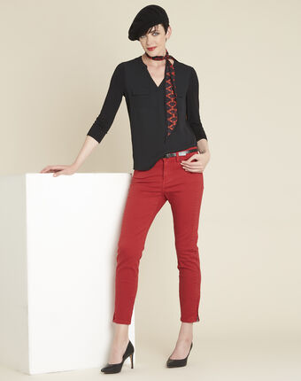 Opéra slim-cut red jeans with zip detailing pumpkin.