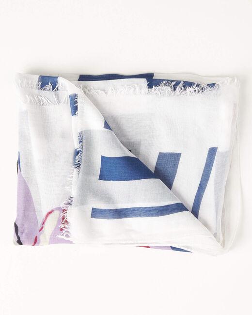 Blaues Halstuch mit Aquarell-Print Alienor (2) - 1-2-3