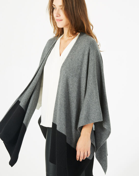Polly black and marl grey woolen cape (3) - 1-2-3