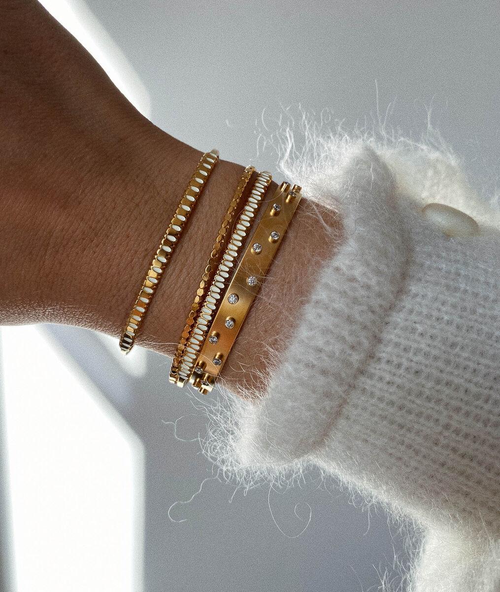 Bracelet jonc zircons or Bijoux Léone PhotoZ | 1-2-3