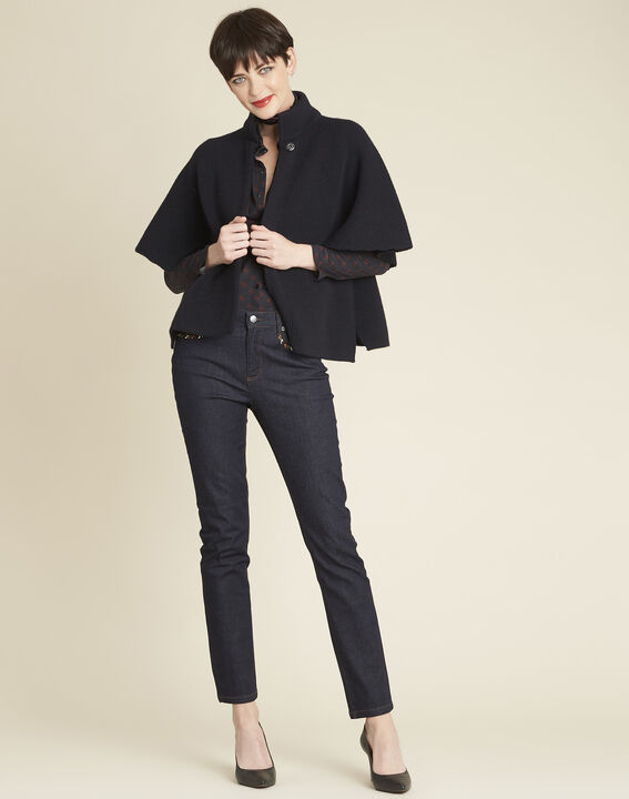 Bologne navy cape with high collar (2) - 1-2-3
