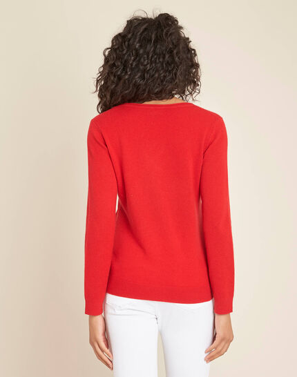 Pivoine red V-neck sweater in cashmere (4) - 1-2-3