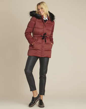 Peggy red hooded down jacket with pull cord terracotta.
