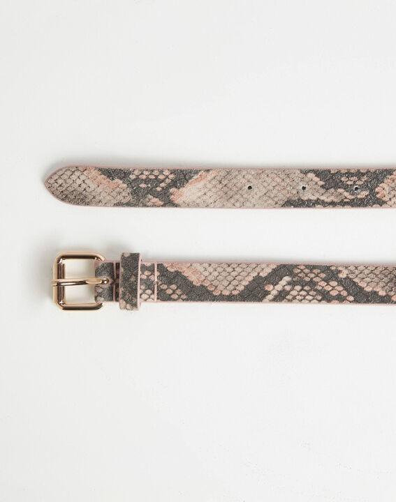 Rita pale pink python print leather belt PhotoZ | 1-2-3