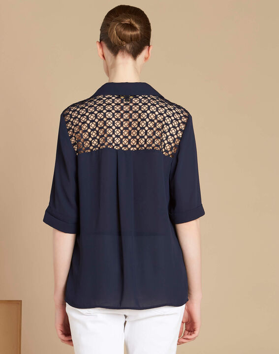 Gaelle navy blue lace blouse with shirt collar (4) - 1-2-3