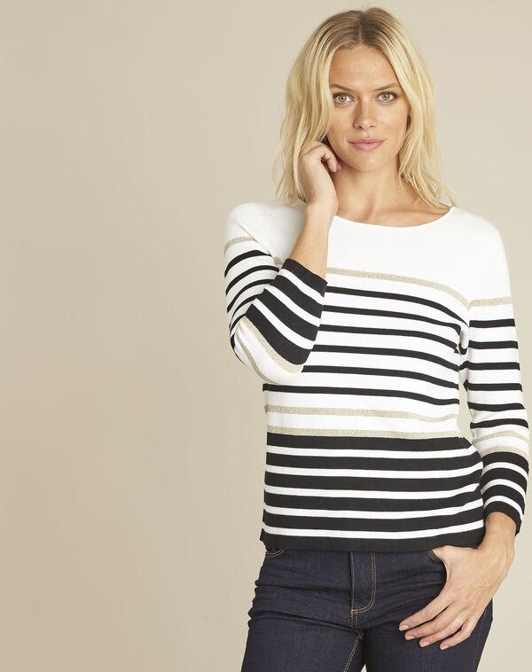 Boussole striped ecru pullover (1) - 1-2-3