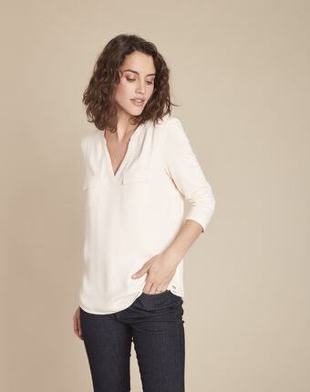 Genna v-neck nude dual-fabric blouse salmon.