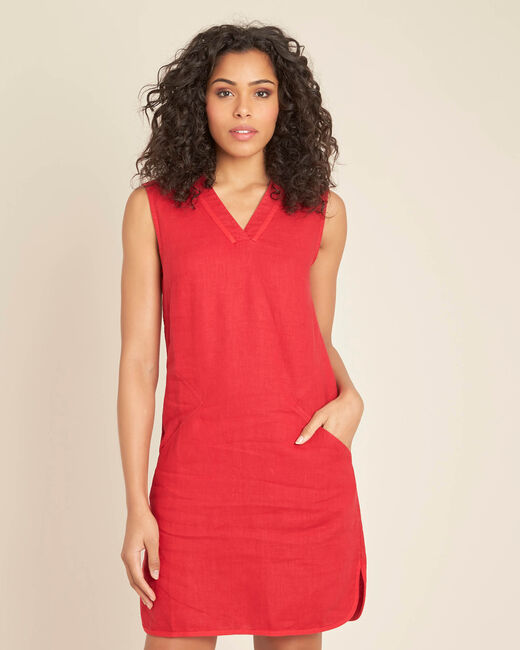 Pim red linen dress (2) - 1-2-3