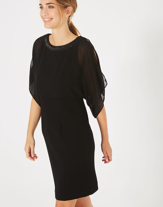 Robe noire à volants col bijou Anita (2) - 1-2-3