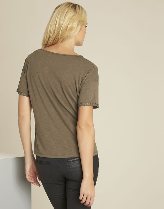 Tee-shirt kaki encolure fantaisie Gilda (4) - 1-2-3