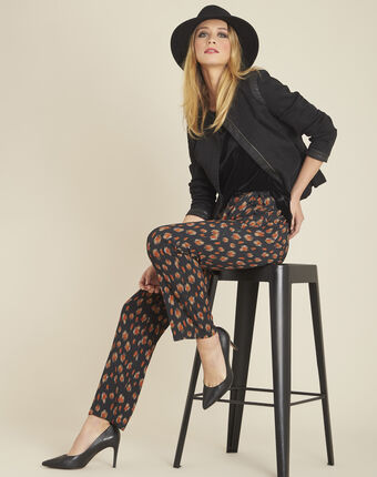 Scoty loose black printed tapered trousers black.