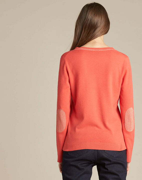 Newyork coral sweater in wool and silk with shiny neckline (4) - 1-2-3