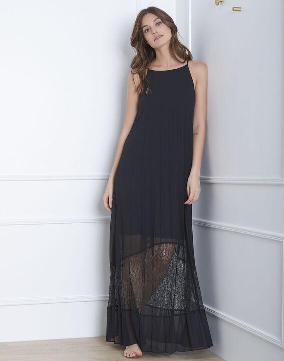 Robe noire plissée longue dentelle Hedda (5) - Maison 123