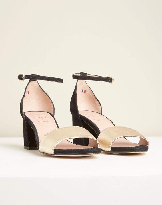Zwarte en gouden leren sandalen met hak Khloe (3) - 37653