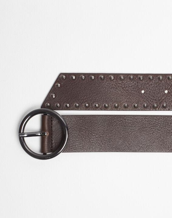 Raphael wide dark brown leather studded belt (2) - 1-2-3