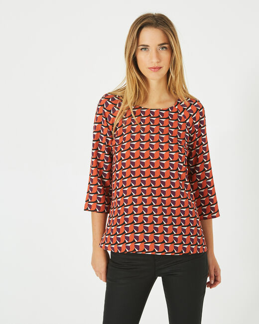 Blouse orange imprimée Darla (1) - 1-2-3