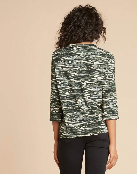 Khakifarbenes Print-T-Shirt mit Tunika-Kragen Esnake (4) - 1-2-3