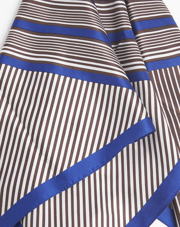 Frisbee brown and blue striped silk square (1) - 1-2-3