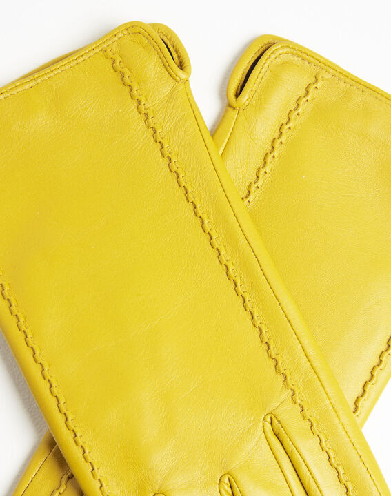 Gants jaune en cuir Ulrick (2) - 1-2-3