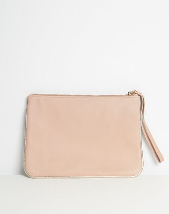 Droopy pink python print clutch with leather straps light pink.