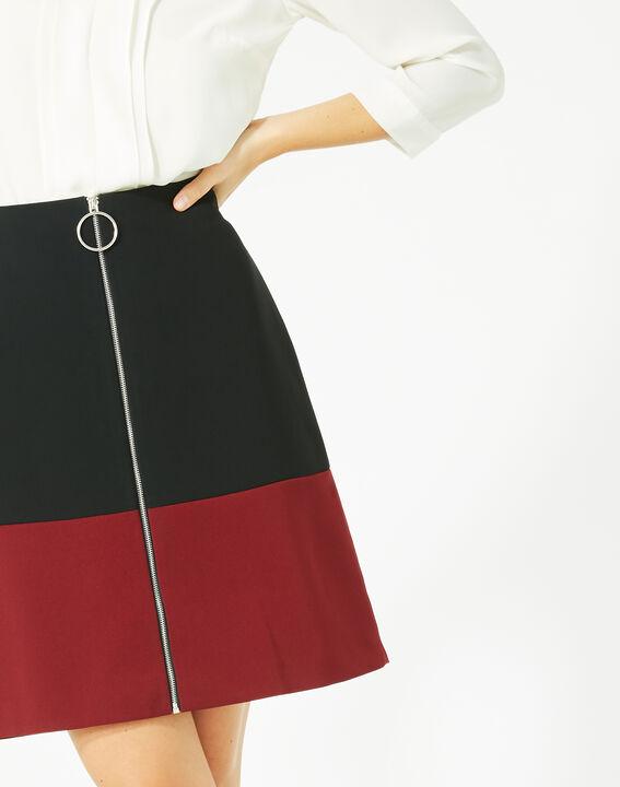 Jupe bicolore noire et carmin Fleury (2) - 1-2-3