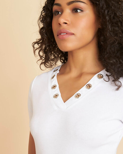 Tee-shirt blanc encolure en V oeillets Basic (1) - 1-2-3