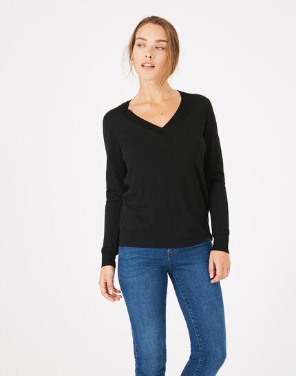 Schwarzer Pullover mit V-Ausschnitt Pépite PhotoZ | 1-2-3