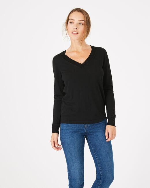 Pépite black V-neck sweater (1) - 1-2-3