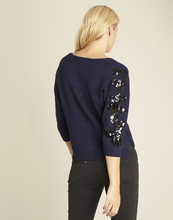Byzance blue sweater with embroidery on the shoulders (4) - Maison 123