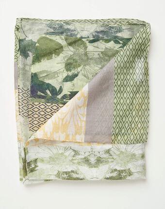 Foulard imprimé fleuri et motifs géométriques adonis kaki.