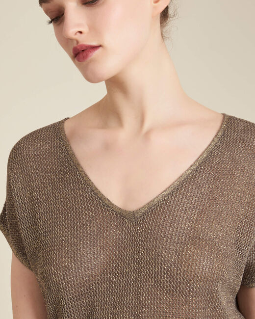 Noix short-sleeved fine-knit khaki sweater (2) - 1-2-3