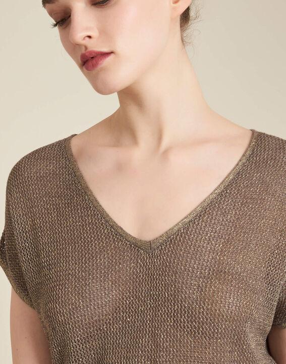 Khakifarbener Kurzarm-Pullover aus Feinstrick Noix PhotoZ | 1-2-3