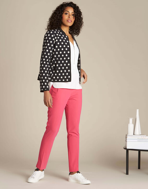 Lara red slim-cut fitted trousers (2) - 1-2-3
