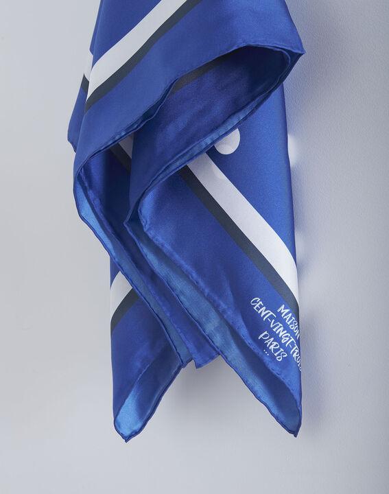 Carré de soie bleu imprimé pois Omega (2) - Maison 123