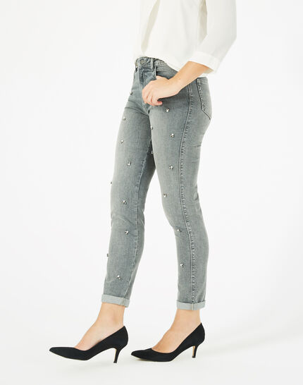 Nael ⅞-length, grey jeans embroidered with beads (3) - 1-2-3