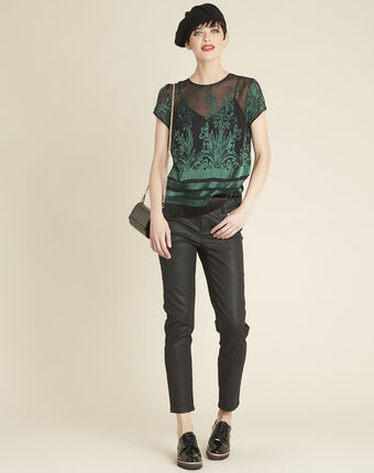 Cindy dark green blouse with openwork detailing dark teal.