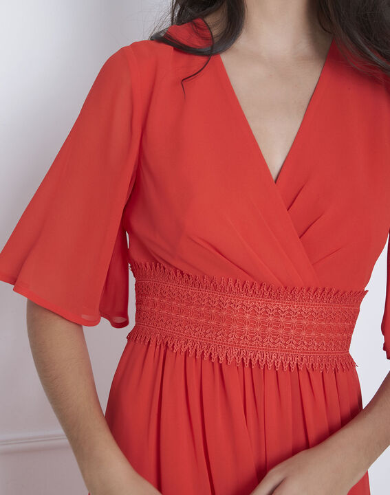 Rotes Makramee-Kleid in Wickel-Optik Helene (3) - Maison 123