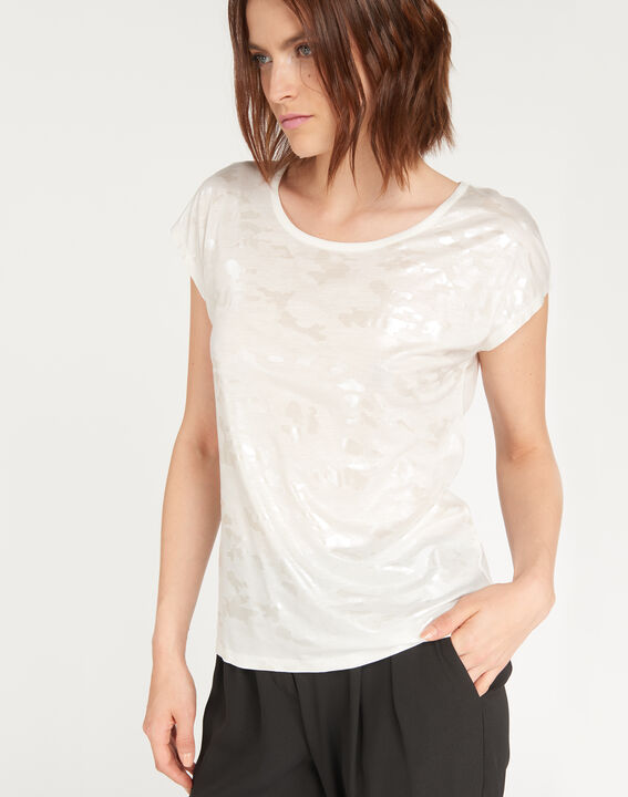Ecrufarbenes T-Shirt mit Print Nicoleta PhotoZ | 1-2-3