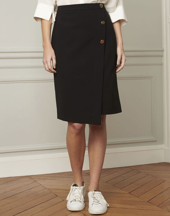 Sabine black skirt with microfibre buttons (2) - Maison 123