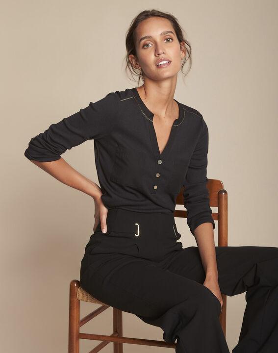 Tee-shirt noir col tunisien Cleo PhotoZ | 1-2-3