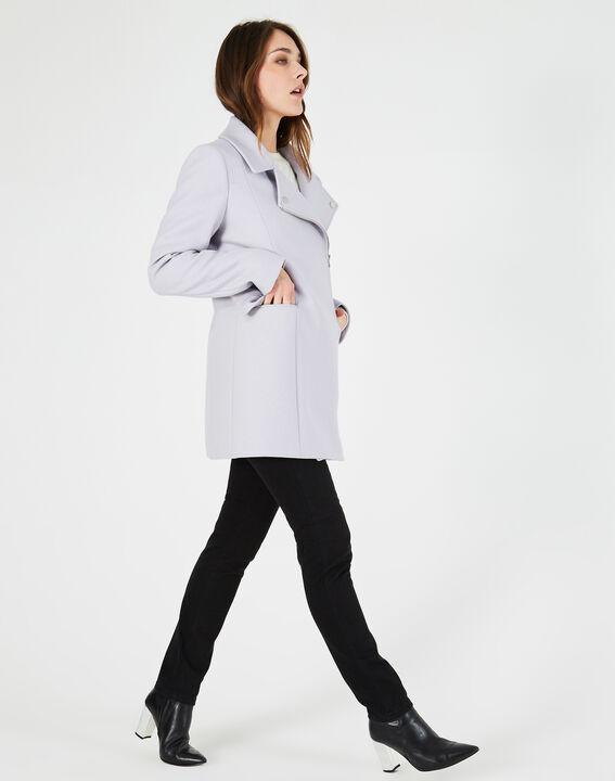 Manteau gris perle en laine mélangée Oryanne (3) - 1-2-3