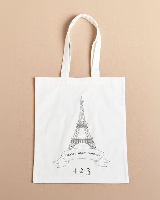 Tote bag écru imprimé Tour Eiffel (1) - 1-2-3