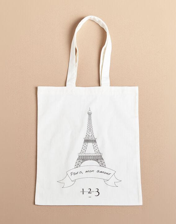Ecrufarbene Tote Bag mit Eiffelturm-Print (2) - 1-2-3