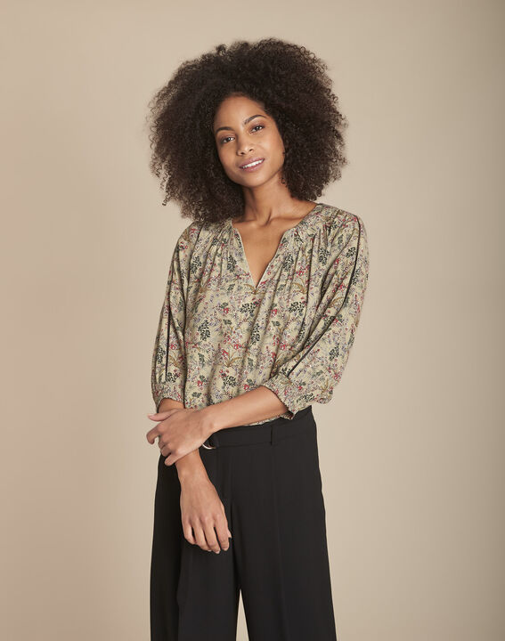 Khakifarbene Bluse mit Blumenprint Mina PhotoZ | 1-2-3