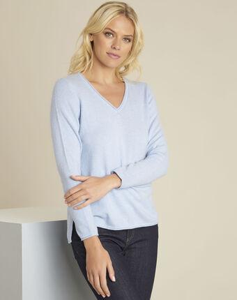 Boogie azure blue wool cashmere pullover sky blue.
