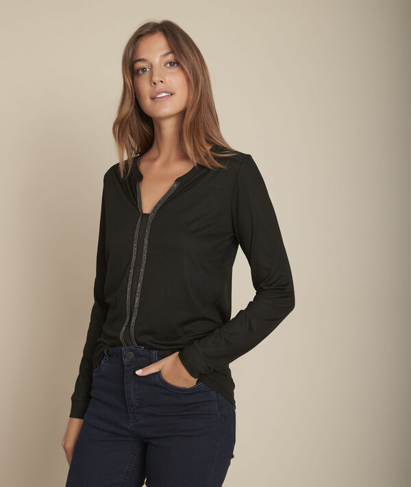 Zwart T-shirt met originele halsuitsnijding Comete PhotoZ | 1-2-3